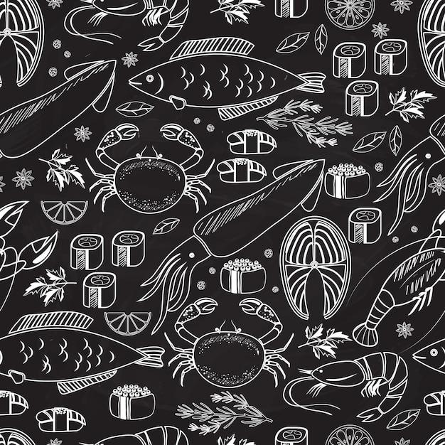 Морепродукты и рыба на доске бесшовные фоновый узор на черном с белыми линиями рисунков рыбы, кальмаров, омаров, крабов, суши, креветок, креветок, мидий, стейка из лосося и трав Бесплатные векторы