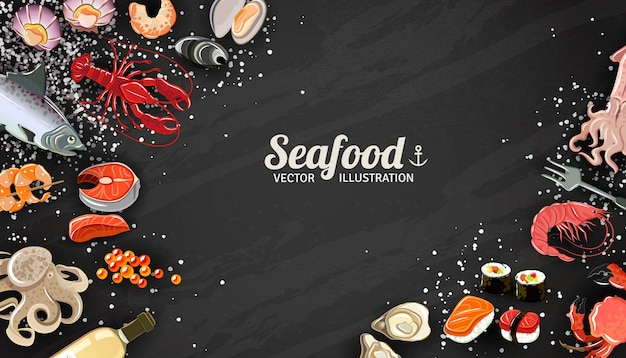 Seafood background with fish prawns and sushi delicacy illustration Free Vector