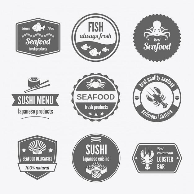 Seafood badge set black Premium Vector