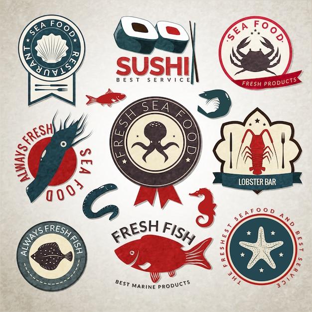 Seafood badge set Premium Vector