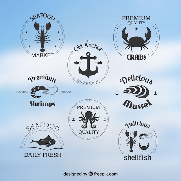 Seafood badges collection Free Vector