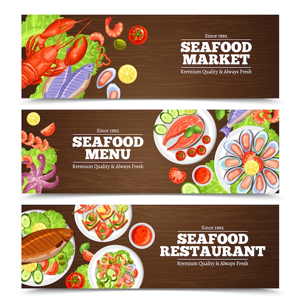 Seafood banners design Free Vector