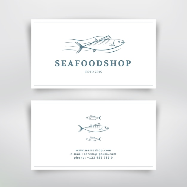 Seafood business card design with fish. vector template Premium Vector