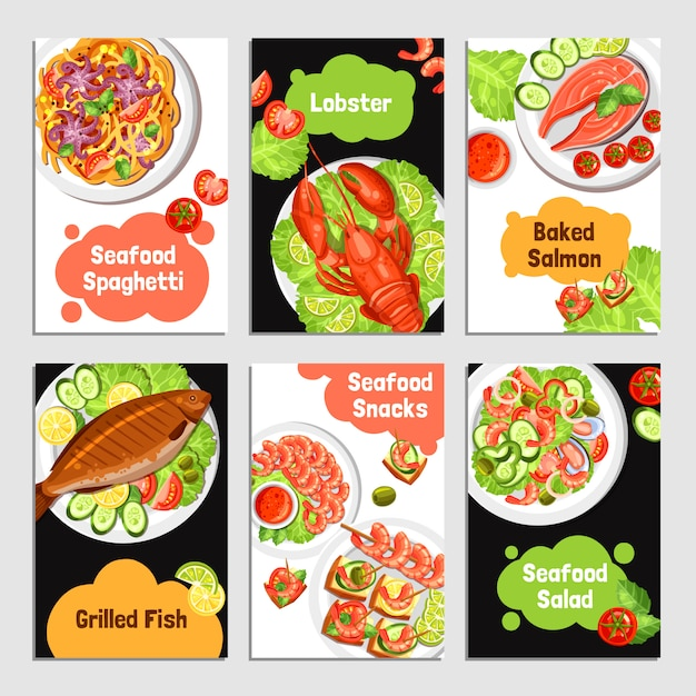 Seafood cards banners Free Vector