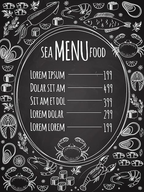 Меню классной доски из морепродуктов с центральной овальной рамкой со списком цен, окруженным белыми векторными рисунками рыбы, кальмаров, омаров, крабов, суши, креветок, креветок, мидий, стейка из лосося и зелени Бесплатные векторы