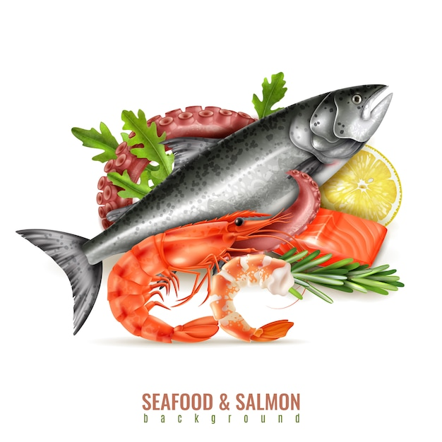 Seafood cocktail ingredients realistic composition with whole fresh salmon fish shrimps octopus tentacle lemon herbs Free Vector