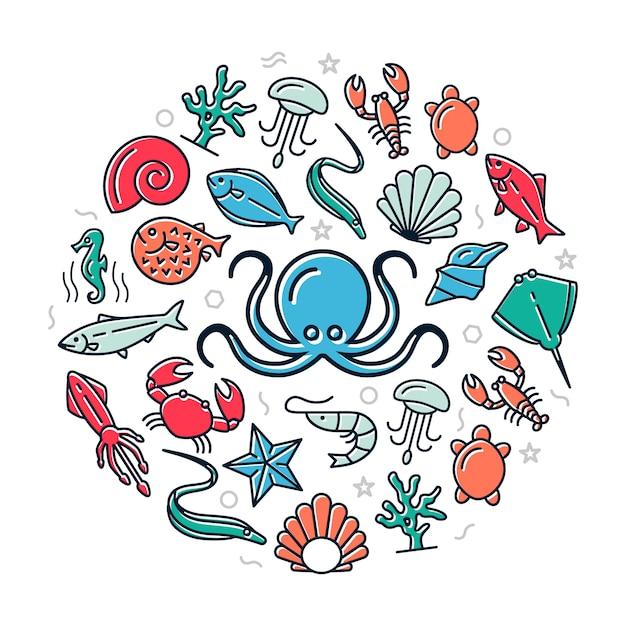 Seafood colored icons in circle design illustration Premium Vector