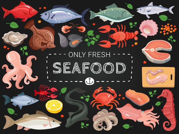 Seafood colorful chalkboard menu poster Free Vector