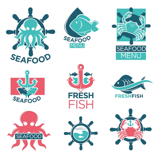 Seafood colorful logo labels flat set on white Premium Vector