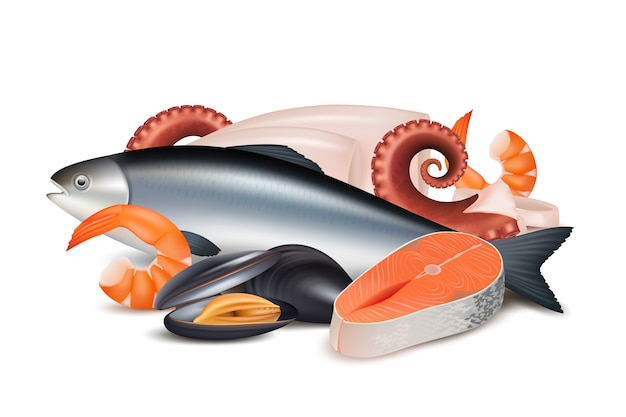 シーフード。さまざまな新鮮なタンパク質食品魚タコ軟体動物ロブスターベクトルの現実的な写真の構成。イラストタコとロブスター、新鮮なシーフード Premiumベクター