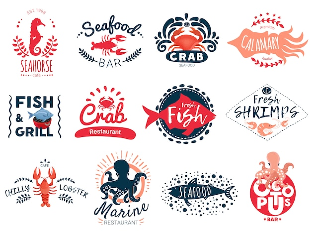 Seafood creative emblems collection Free Vector