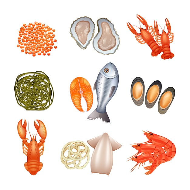 Seafood decorative icons set with caviar lobster fish seaweed Free Vector