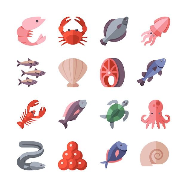 Seafood delicacies and cooking fish vector flat icons isolated on white. crab and eel, snail and exotic mussel sea food illustration Premium Vector