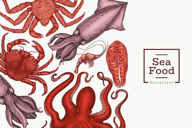 Seafood design. hand drawn seafood illustration. engraved style food. retro sea animals background Premium Vector