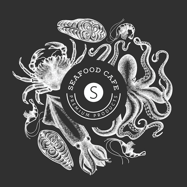 Seafood design template. hand drawn  seafood illustration on chalk board. engraved style food . retro sea animals background Premium Vector
