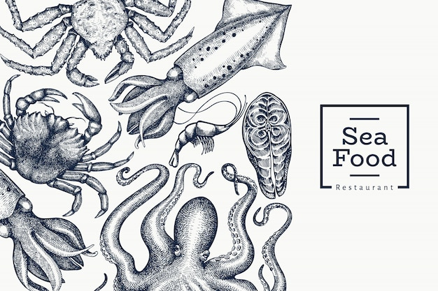 Seafood design template. hand drawn  seafood illustration. engraved style food . retro sea animals background Premium Vector