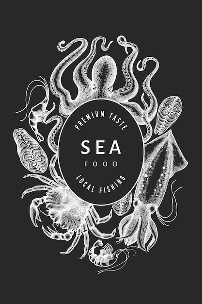 Seafood design template. hand drawn vector seafood illustration on chalk board. engraved style food banner. retro sea animals background Premium Vector