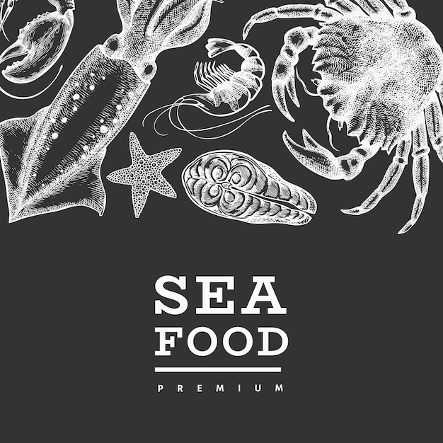 Seafood design template. hand drawn vector seafood illustration on chalk board. Premium Vector