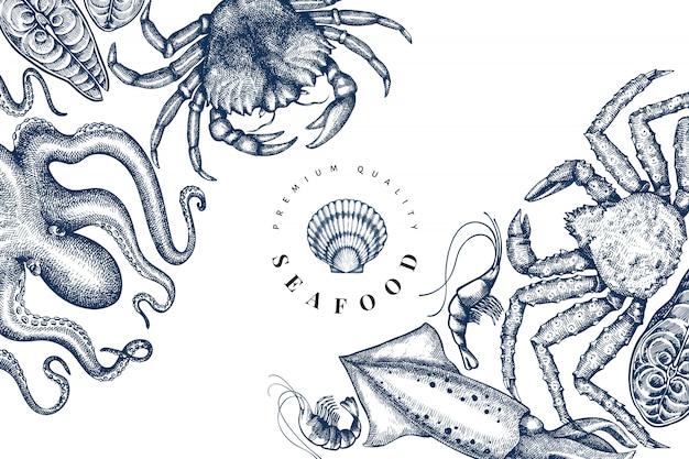 シーフードのデザインテンプレートです。手描きベクトルシーフードイラスト。刻まれたスタイルの食品バナー。レトロな海の動物の背景 Premiumベクター