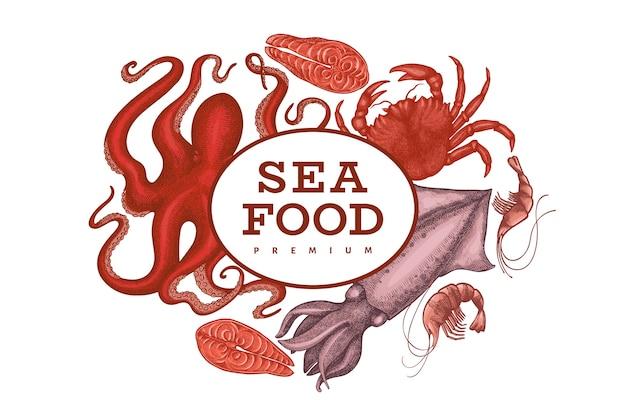 Шаблон дизайна морепродуктов. нарисованная рукой иллюстрация морепродуктов вектора. гравированный стиль еды баннер. фон старинных морских животных Premium векторы