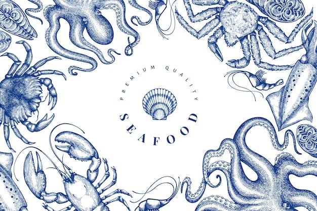 シーフードデザインテンプレート。手描きベクトルシーフードイラスト。刻まれたスタイルの食品バナー。ヴィンテージ海の動物の背景 Premiumベクター