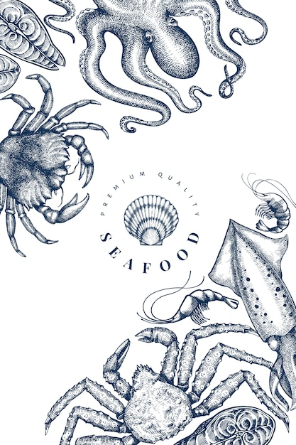 Seafood design template. hand drawn vector seafood illustration Premium Vector