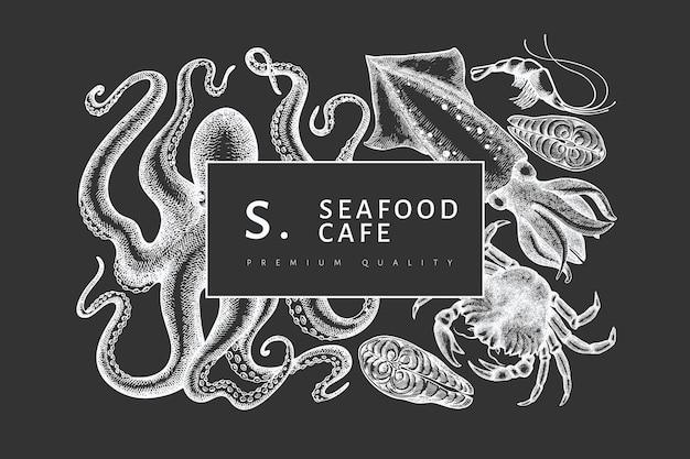 Шаблон дизайна морепродуктов. Premium векторы