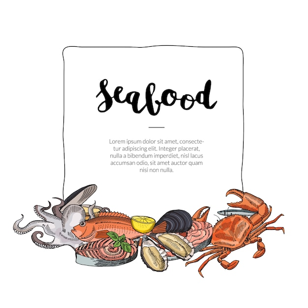 Seafood elements gathered below frame Premium Vector