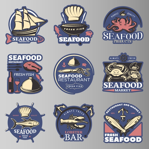 最高品質のシーフード製品でシーフード色のエンブレムを設定シーフードレストラン新鮮な魚のロブスターバーの説明 無料ベクター