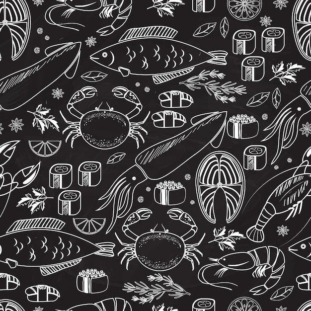 Seafood and fish chalkboard seamless background pattern on black with white line drawings of fish  calamari  lobster  crab  sushi  shrimp  prawn  mussel  salmon steak and herbs Free Vector