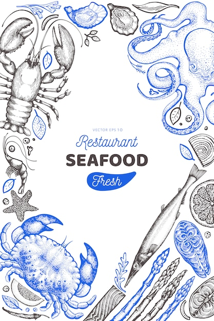 Seafood and fish design template. Premium Vector