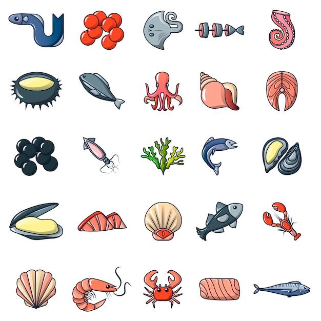 Seafood fish ocean icons set Premium Vector