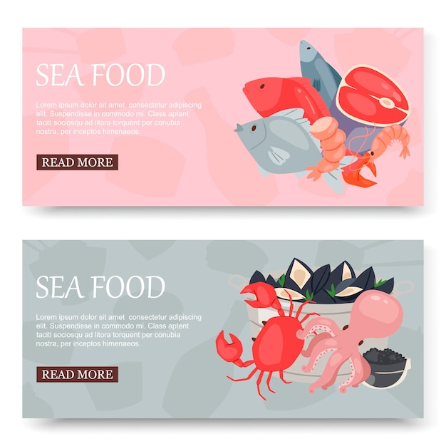 Seafood and fish set of banners Premium Vector