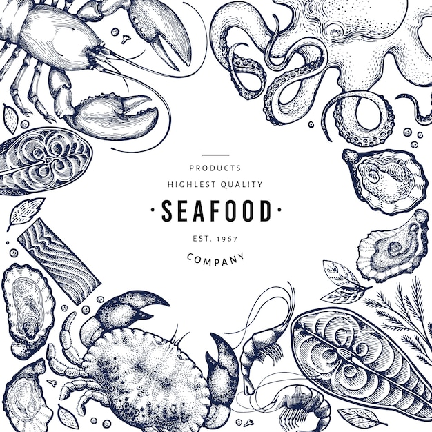 Seafood and fish template. Premium Vector