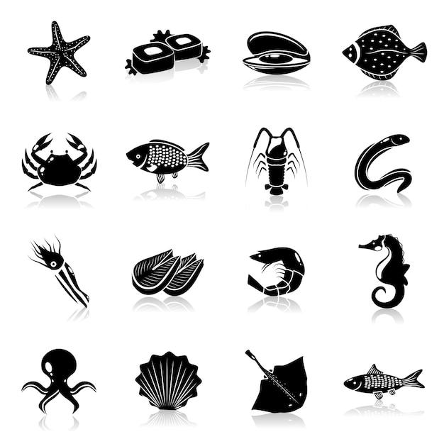 Seafood icons set black Premium Vector