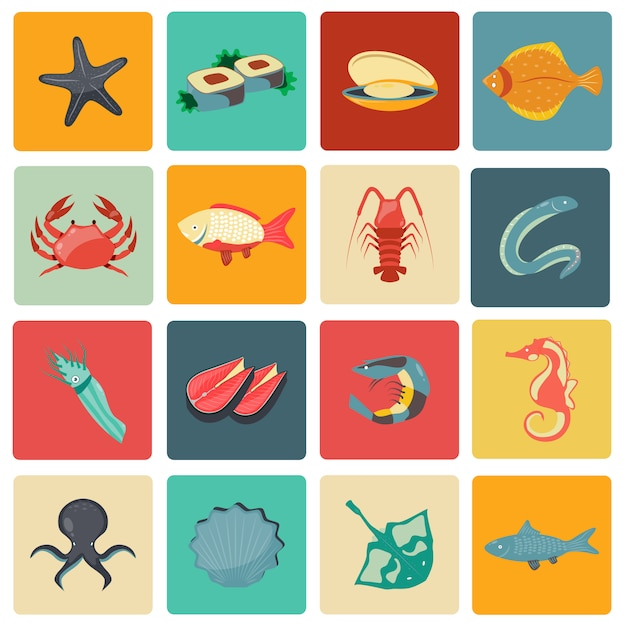 Seafood icons set flat Premium Vector