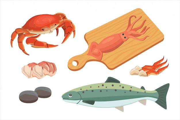 シーフードのイラストは、新鮮な魚とカニを設定します。ロブスターとカキ、エビとメニュー、タコの動物、貝レモン Premiumベクター