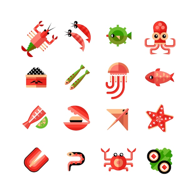 Seafood isolated icon set Free Vector