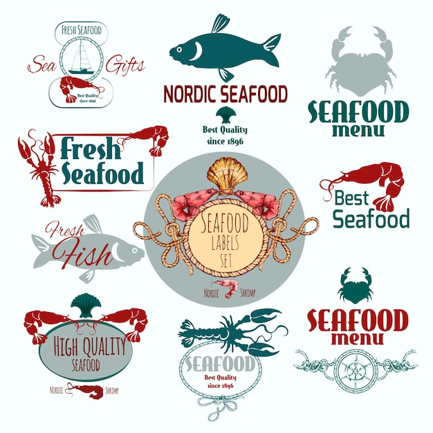 Seafood label set Free Vector