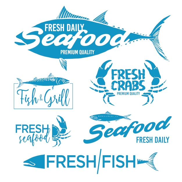 Seafood labels collection Free Vector