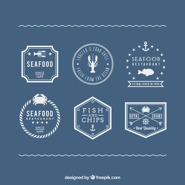 Seafood labels in retro style