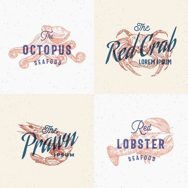 Seafood labels set. retro print effect cards. Free Vector