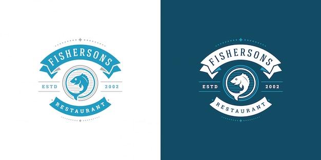魚介類のロゴまたは記号ベクトルイラスト魚市場とレストランの紋章テンプレートデザインの舵と魚 Premiumベクター