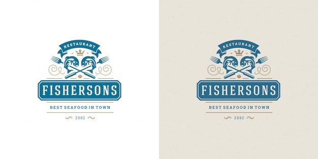 シーフードのロゴまたは記号ベクトルイラスト魚市場とレストランのエンブレムテンプレートデザイン魚 Premiumベクター