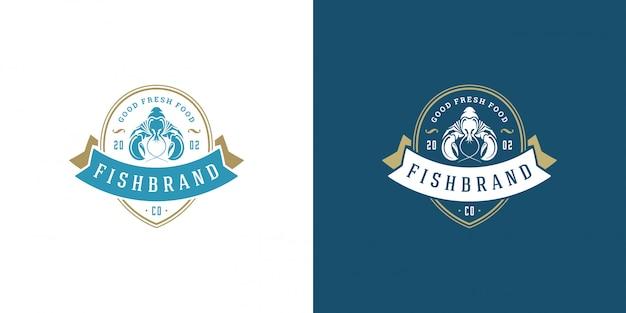 シーフードのロゴまたは記号ベクトルイラスト魚市場とレストランのエンブレムテンプレートデザインロブスター Premiumベクター