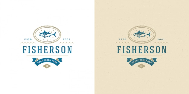 Seafood logo or sign   fish market and restaurant  template  tuna fish silhouette Premium Vector