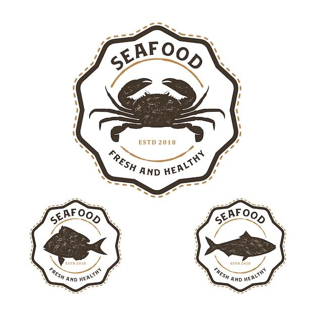 Seafood logo vintage Premium Vector