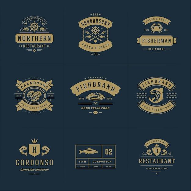 Логотипы морепродуктов или знаки набор векторных шаблонов эмблем Premium векторы