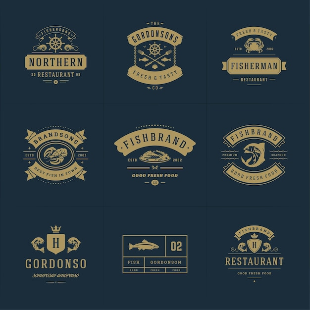 Seafood logos or signs set vector emblems templates Premium Vector