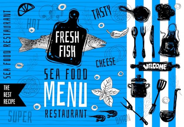Seafood menu logo design, cutting board, soup, pot, fork, knife, vintage sea fish salmon food menu lettering stamp design. the best recipes. hand drawn. Premium Vector